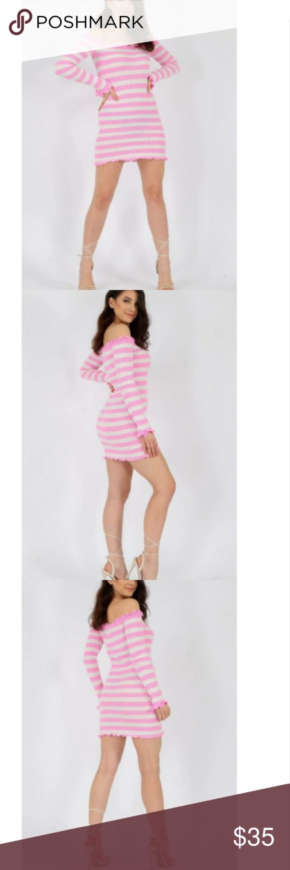 🌷Striped Bodycon Dress💋 🌹Ruffle Bardot Ribbed Bodycon Dress  Long Sleeves💋  🎊Knitted Ribed Fabric  Frill Hem Detail🔥  Length: 30 inches   50%Cotton, 50%Acrylic  Model wearing a size UK S / US S  S (4-6) Dresses