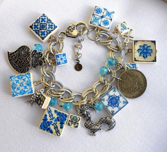 Portugal Antique BLUE  Azulejo Tile Charm Bracelet by Atrio,