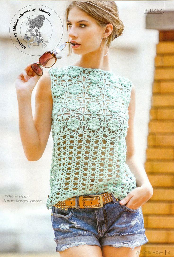 Alkimia: blouse with crochet diagram   ♪ ♪ ... #inspiration_crochet #diy GB
