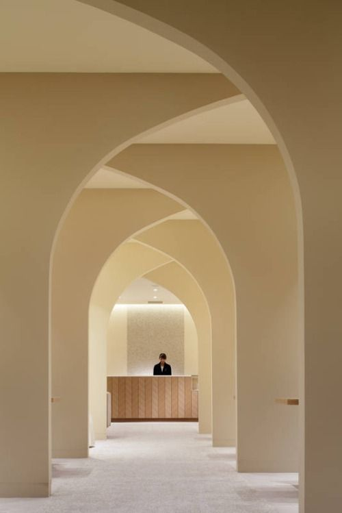 Love this long, arched hallway! Imagine how this might look, leading to beautiful window, the front door, or a home altar. Fantastic...  ~~  Houston Foodlovers Book Club