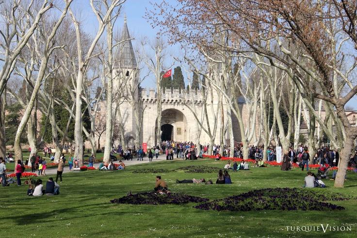 Les jardins du Palais de Topkapı début mars.