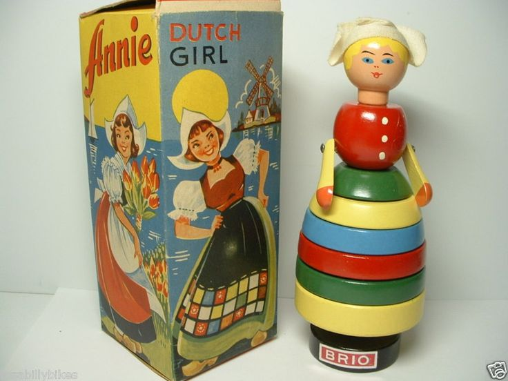 "VINTAGE BRIO WOODEN STACKING TOY DUTCH GIRL ""ANNIE"""