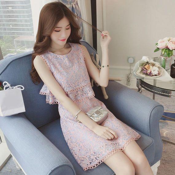 새로운 달콤한 여자 꽃 민소매 레이스 드레스 여성 여름 높은 허리 짧은 스커트 작은 신선한 드레스