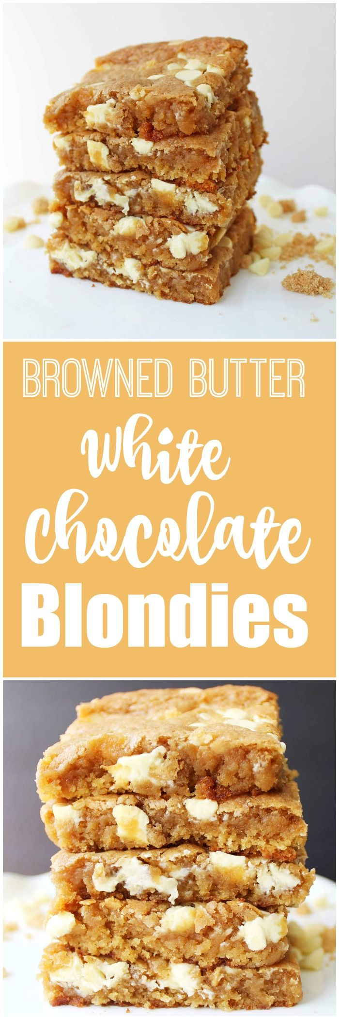 Browned Butter White Chocolate Blondies. Rich, toffee flavored dough studded with white chocolate chunks. A blondie is a brownie without the cocoa. One of the most popular dessert bars out there.