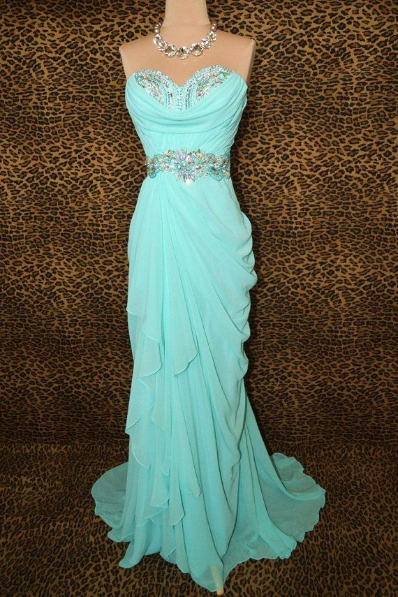 Elegant Blue Long Chiffon Sweetheart Prom Dresses 2015, Prom Dresses 2015, Prom Gown, Custom-Made Prom Dress, Evening Gown