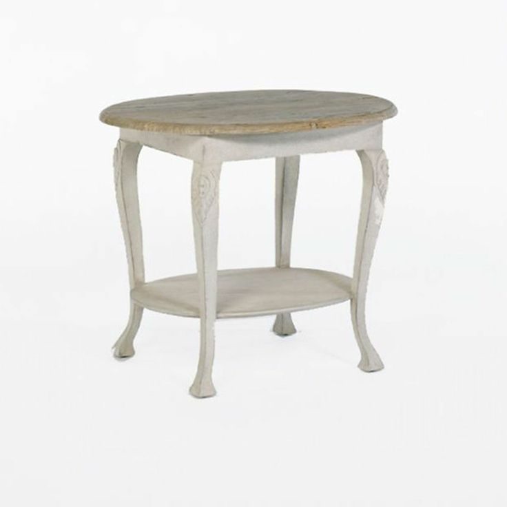 Hand Carved Side Table With Recycled Wood Top (31.5w X 19.7d X 26.5h)