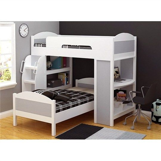 Rio Single Size Bunk Bed in White with Silver Bunk Beds