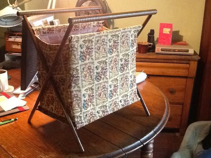 Knitting Bag Stand : Vintage folding wood tapestry sewing knitting crochet