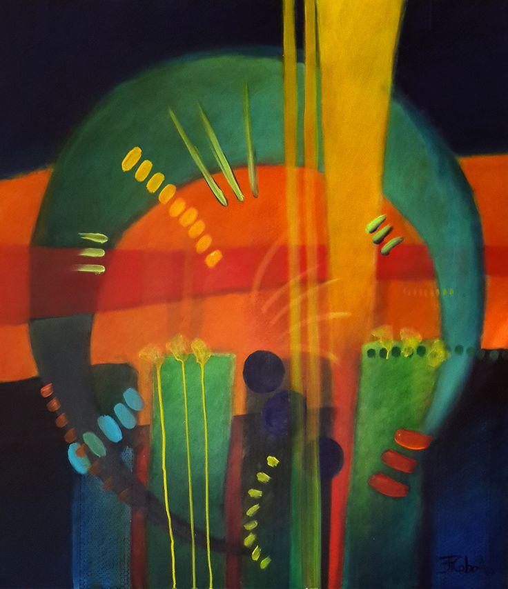 """JUAN FERNANDO COBO A. """"Tarde de Luna"""" 90 x 80 cm. Acrílicos sobre tabla 2014"""