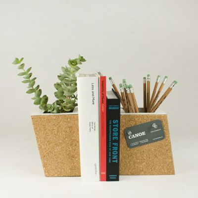 Cork Planter Bookend Set $48.00 by Nicole Runde  Constructed of high-density natural cork, these small scale planters can accommodate houseplants, such as succulents and miniature cacti. They also serve double duty as office organizers, as a place to pin notes, or as a pair of bookends. Each cork piece includes a removable insert that can be washed and reused.Corks Planters, Decor Ideas, Gift Ideas, Offices, Cork Boards, Corks Boards, Bookends Sets, Planters Bookends, Products