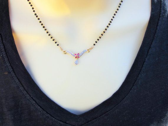 Sale 15% Off CZ and Ruby Pendant Mangalsutra Wedding by Alankaar