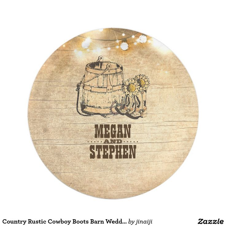 Country Rustic Cowboy Boots Barn Wedding Paper Plate Country rustic wedding paper plates with cowboy boots, barrel, horseshoes, sunflowers, wood and string lights