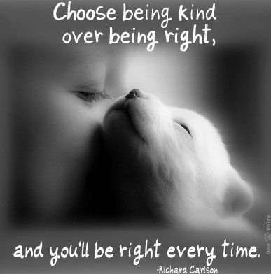 When given The choice between being right and being kind, choose kind because kind is always right