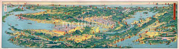 Hatsusaburo Yoshida. bird's-eye view map of Kansai, published by Osaka Mainichi Shinbun on April 5, 1926 (Taisho 15). Kyoto based artist Hatsusaburo Yoshida (吉田初三郎, 1884-1955) was famous for his bird's eye view maps and was called the Hiroshige of the Taisho Era.