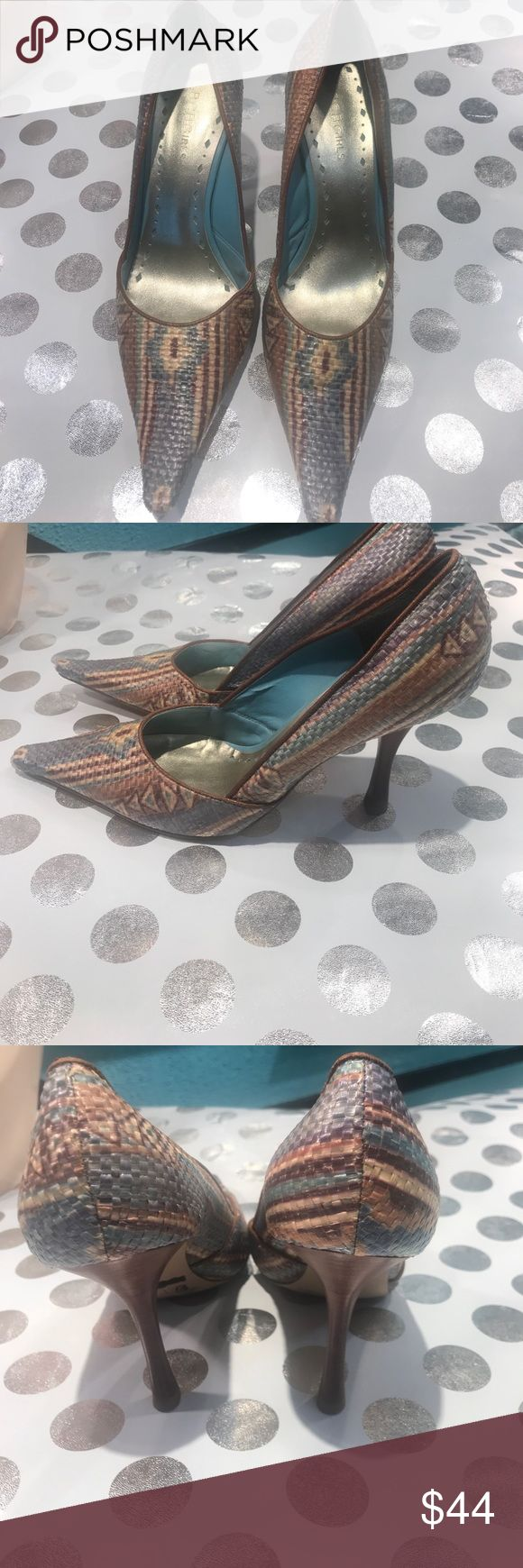 """BCB GIRLS leather shoes Stunning pair of  woman leather woven shoes. Size 8B colors are blue, mauve, cream, brown And green. The shoes can be worn with many different outfits.  Heels are 4"""" BCB GIRLS Shoes Heels"""