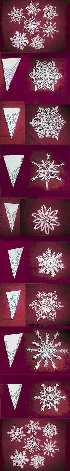 Vejam como é fácil!!! Primeiro deve-se dobrar o papel, depois desenhar o gráfico do floco de neve, recortar, abrir e então se surpree...