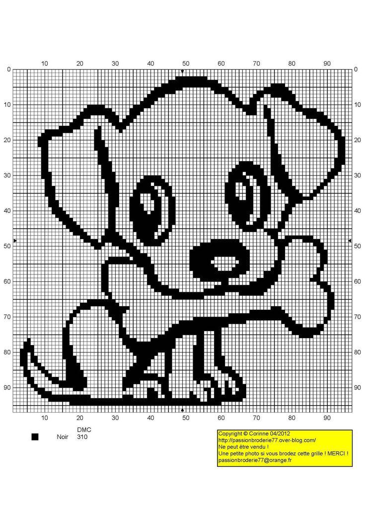 chien - dog - broderie - cross stitch- Chiot et os - Point de croix - Blog : http://broderiemimie44.canalblog.com/