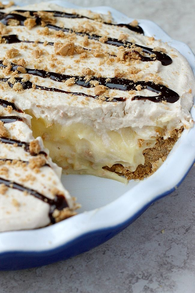 Peanut Butter Banana Cream Pie ... The crust is crushed Nutter Butter cookies!