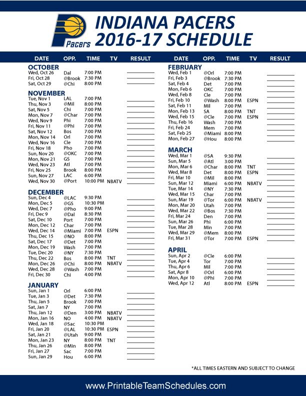 Indiana Pacers Basketball Schedule 2016 - 2017 Print Here - http://printableteamschedules.com/NBA/indianapacersschedule.php