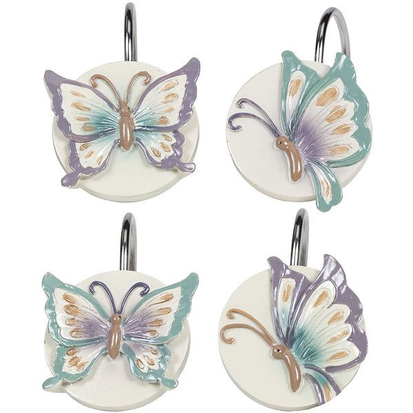 Creative Bath™ Garden Gate Butterfly Shower Curtain Hooks ($19) ❤ liked on Polyvore featuring home, bed & bath, bath, bath accessories, butterfly bathroom accessories, butterfly shower curtain hooks and butterfly shower hooks