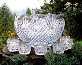 Smith Glass Pineapple Pattern Punch Bowl Set - Bowl with 15 Glasses - 10 Quart