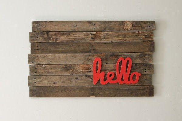 Diy hello pallet wall art