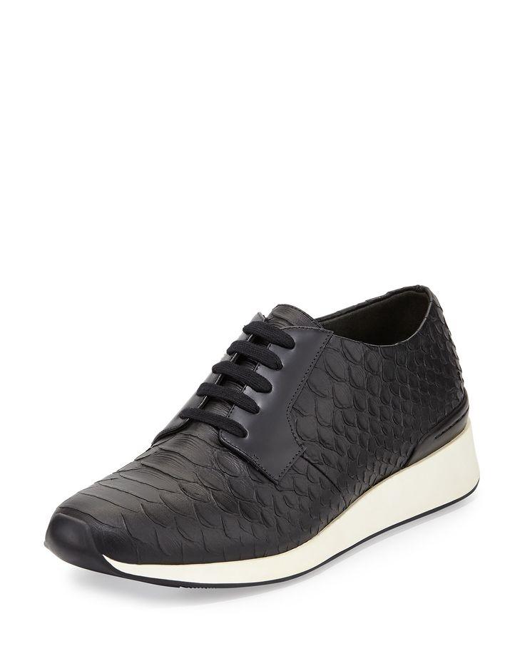 Rayner Python-Print Trainer Sneaker, Black, Women's, Size: 38B/8B - Vince