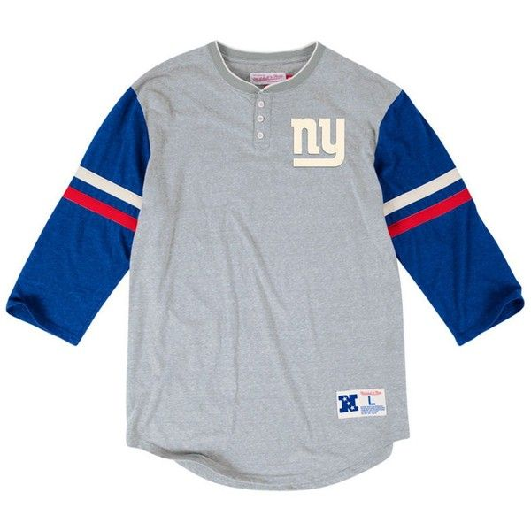 Mitchell & Ness Men's New York Giants Home Stretch Henley 2.0... (96 BRL) ❤ liked on Polyvore featuring men's fashion, men's clothing, men's shirts, men's t-shirts, mens henley shirts, mens stretch t shirts, mens long sleeve henley t shirt, mens long sleeve shirts and mens stretch shirts