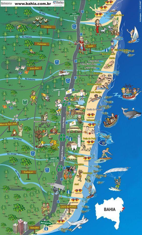 Mapa da Costa dos Coqueiros - Bahia / Mangue Seco, Costa do Sauípe, Praia do Forte: