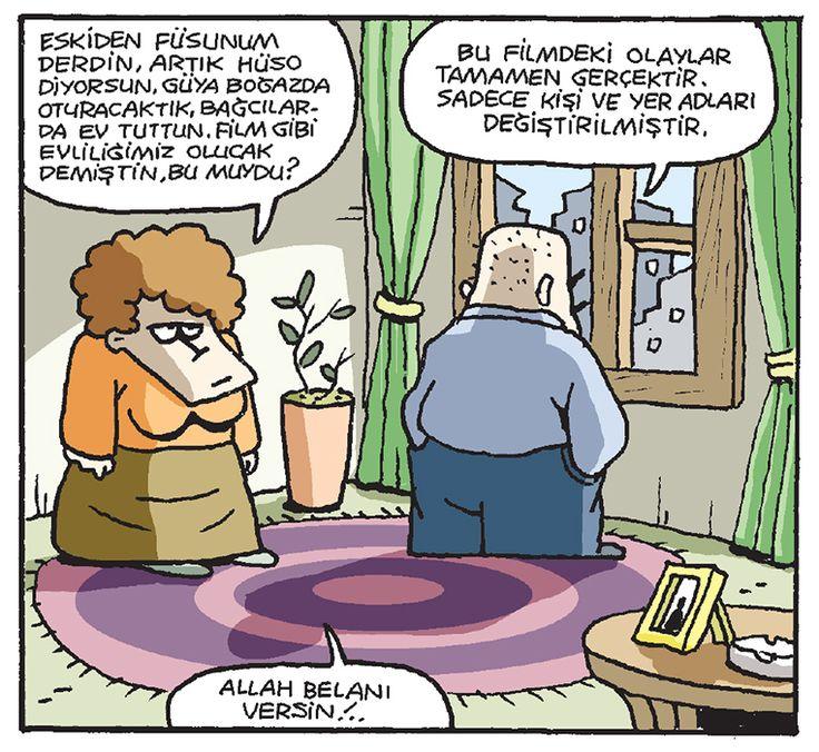 - Eskiden Füsunum derdin, artık Hüso diyorsun. Güya Boğaz'da oturacaktık, Bağcılar'da ev tuttun. Film gibi evliliğimiz olucak demiştin, bu muydu? + Bu filmeki olaylar tamamen gerçektir. Sadece kişi ve yer adları değiştirilmiştir. - Allah belanı versin!.. #karikatür #mizah #matrak #komik #espri #şaka #gırgır #komiksözler