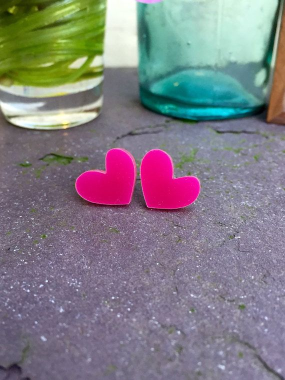 Gifts for Her Surgical Steel Earrings - Acrylic jewellery - Pink Heart Earrings…