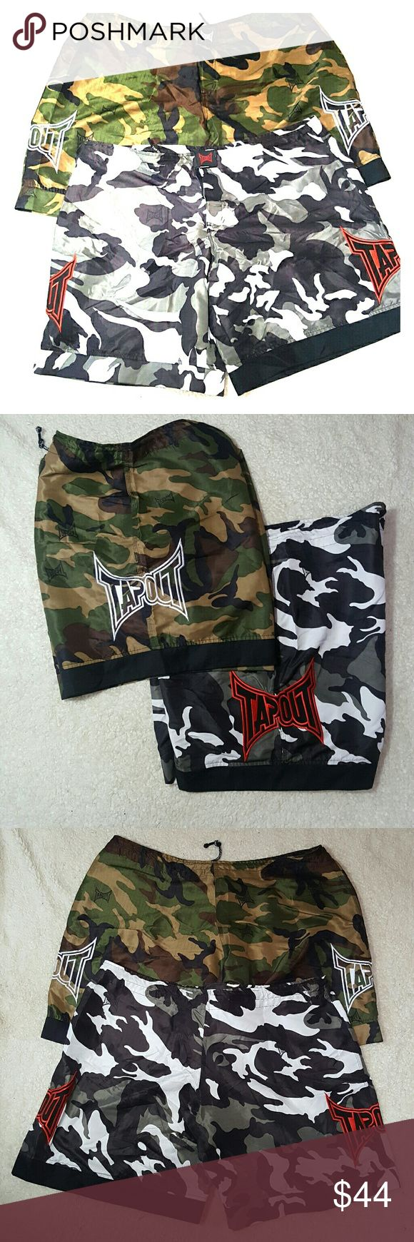 Lot of 2- TAPOUT MMA Wrestling Shorts Size 42 Camo Lot of 2 TAPOUT MMA shorts - Size 42 waist. Both camo design. Drawstring waist with velcro closure. Great condition, hardly worn. TAPOUT Shorts Athletic