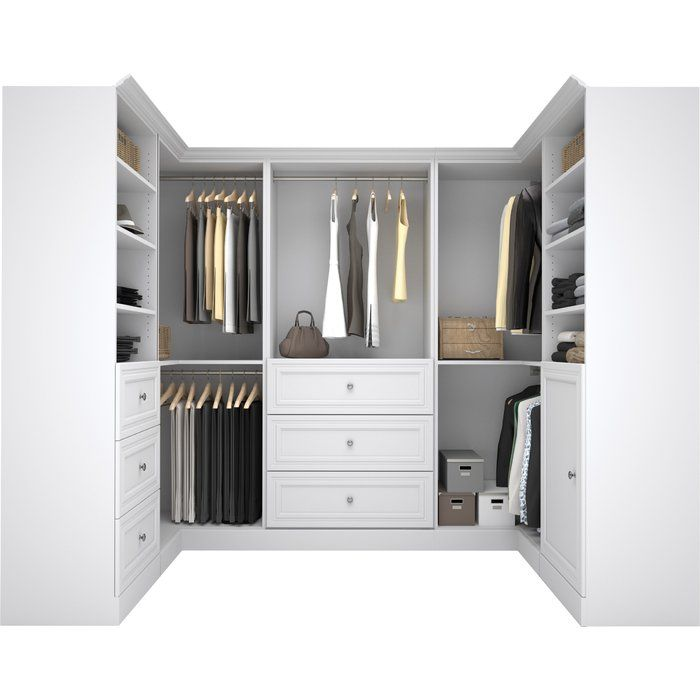 """A wardrobe as wonderful as yours should be stowed in the highest of styles! If your master suite storage is in need of a makeover, all you need is this clean-lined closet system. Crafted of particle board and laminate, it offers a versatile solid finish so as not to distract from your dresses and denim. Ready to organize your ensemble, this 107.25"""" U-shaped design features six knob pull-adorned drawers, a single cabinet, 13 open shelf spaces, and five bars for hanging those more deli..."""