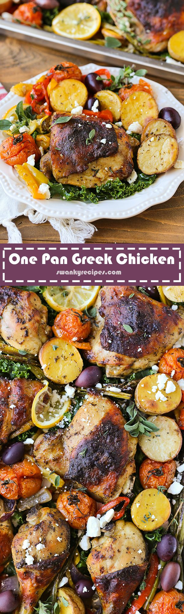 Sheet pan Greek Chicken and fresh vegetables roasted on one pan/pot.  Easy dinner done in no time.
