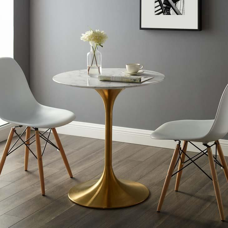 Tulip Style 28 Gold Round Dining Table With Images Dining