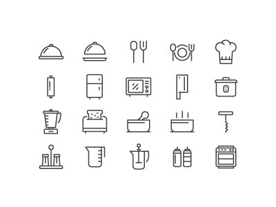 Minimal, outlined icons