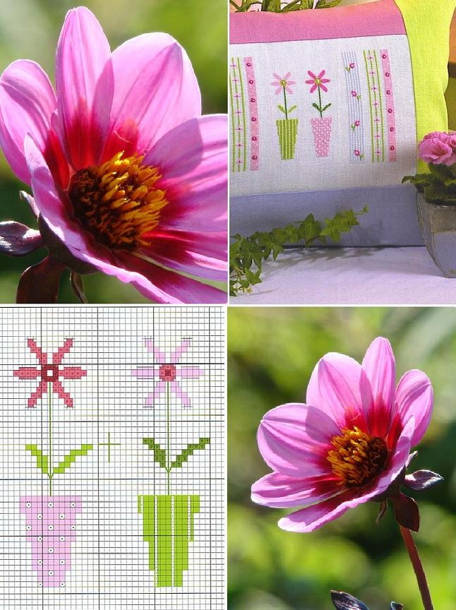 Spring pillow free chart on SMJ and Bear Sunflowers at http://sonnja.blogspot.nl/