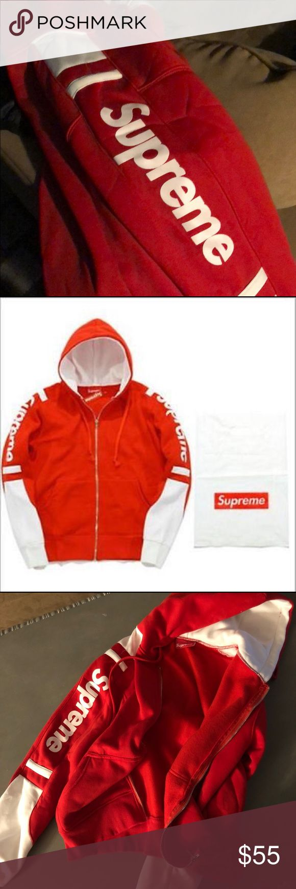 Supreme Hoodie! I got a Supreme hoodie but accidentally got a large in kids (small for adult) when I am an adult large. I can ship it within 2 days of order! Supreme Sweaters Zip Up