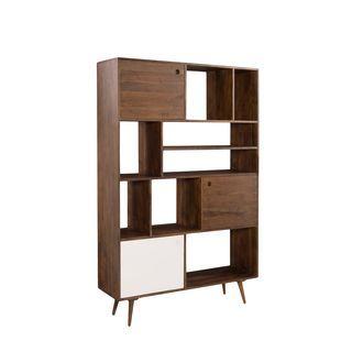 aurelle home theo large mid century modern bookshelf