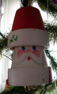 Santa made of two tiny clay pots