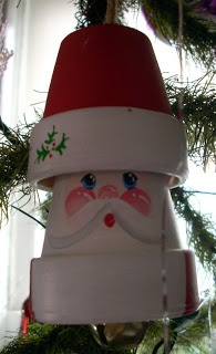 Santa made of two tiny clay pots