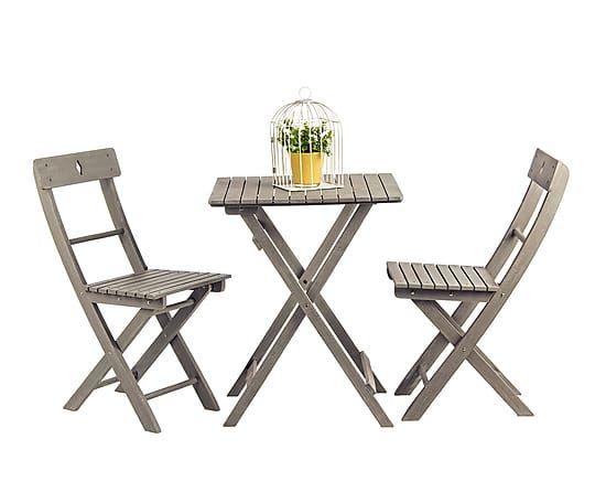 Set de 2 sillas de exterior plegables de madera de acacia Grigia