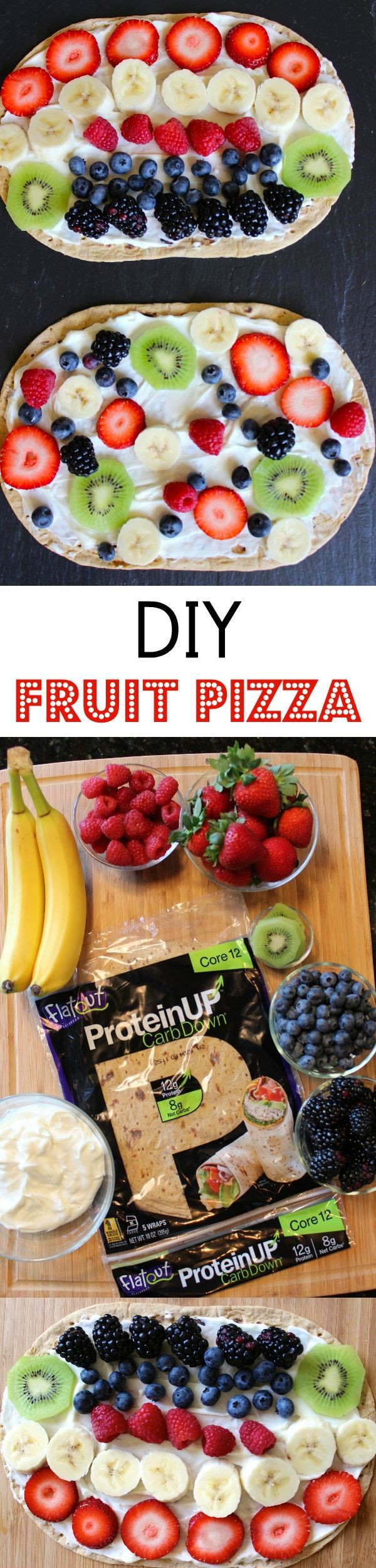 DIY Fruit Pizza: using a high protein flatbread from Flatout this yummy fruit pizza is a healthy and delicious snack for kids and they can customize by using their favorite fruits!