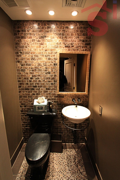 Turn closet into bathroom google search bathroom kitchens pinterest toilets fake brick - Wall wardrobe with bathroom behind pictures ...