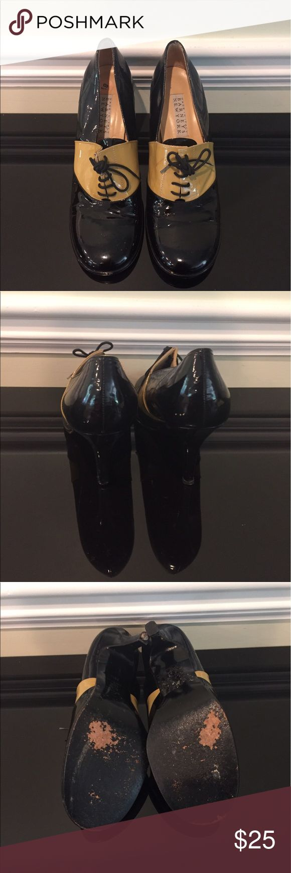 """Barneys NY two tone lace up pumps. Sz 8.5. Barneys New York two tone patent leather pumps. 3"""" heel. Good used condition. Barneys New York Shoes Heels"""