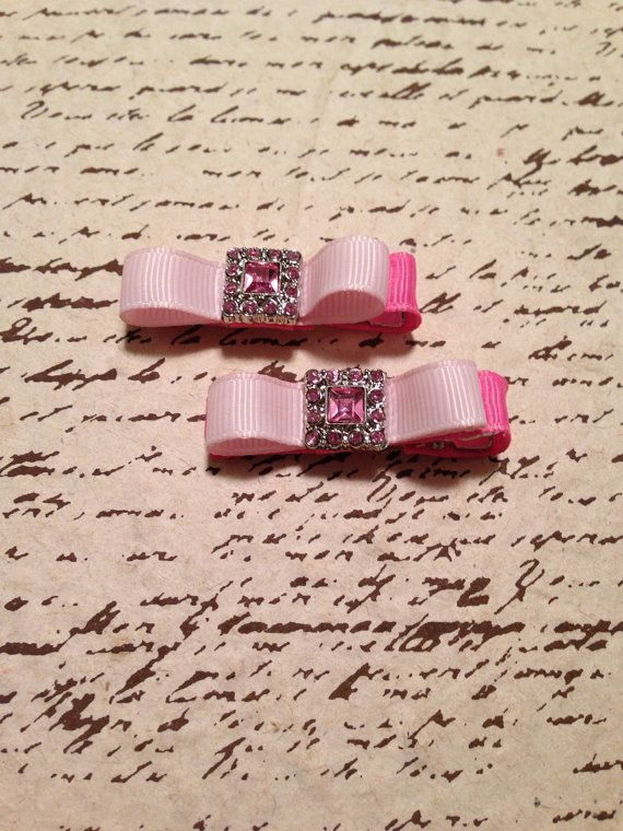 Bubblegum pink/light pink grosgrain ribbon bow by DonnaBellaBows, $5.95