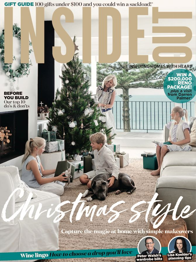 The cover of the November 2017 issue of Inside Out Magazine. Photography by Maree Homer. Styling by Alexandra Gordon. Available from newsagents, Zinio, https://au.zinio.com/magazine/Inside-Out-/pr-500646627/cat-cat1680012#/  and Nook.