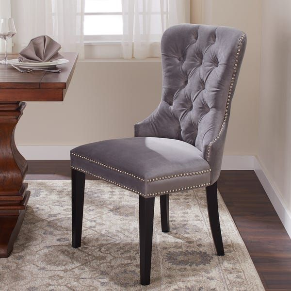 Abbyson Versailles Grey Tufted Dining Chair Dining Chairs
