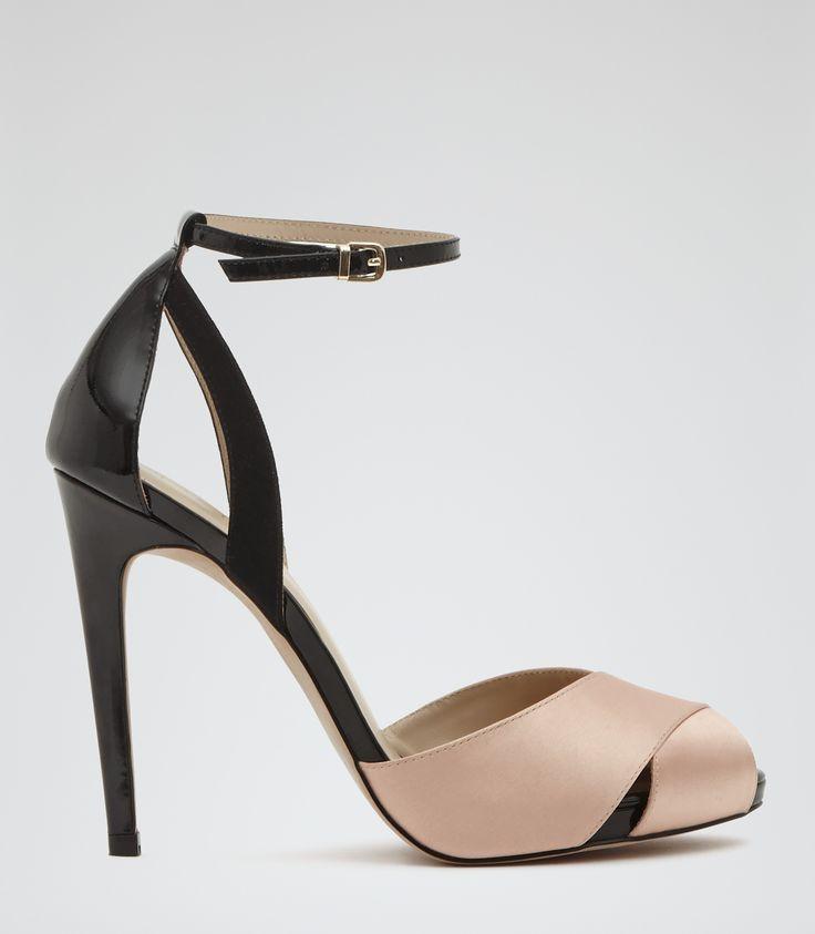 Womens Black/powder White Peep-toe Sandals - Reiss Cece