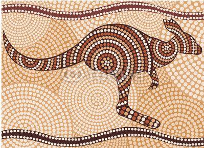 kangourou (peinture dans le style autochtone, résumé)